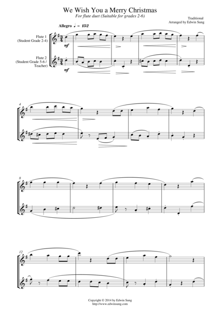 We Wish You a Merry Christmas (for flute duet, suitable for grades 2-6)