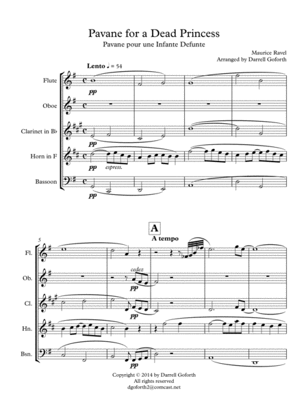 Pavane for a Dead Princess for Wind Quintet