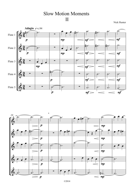 Slow Motion Moments for Flute Choir