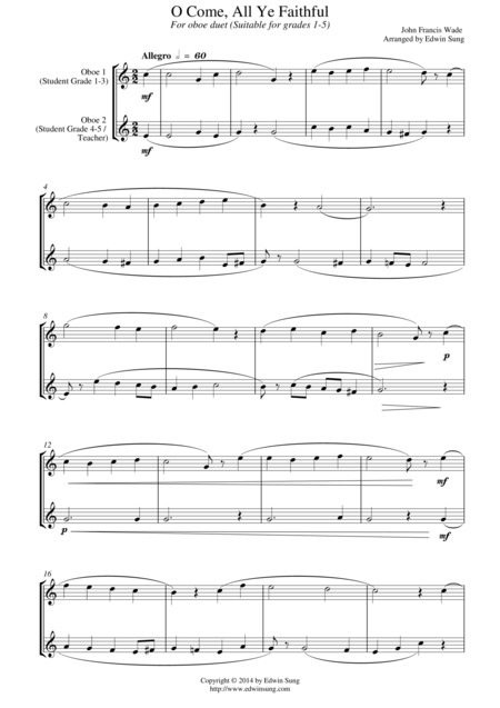O Come, All Ye Faithful (for oboe duet, suitable for grades 1-5)
