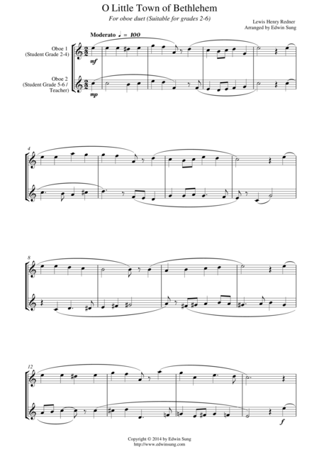 O Little Town of Bethlehem (for oboe duet, suitable for grades 2-6)