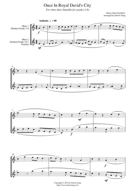 Once In Royal David's City (for oboe duet, suitable for grades 2-6)