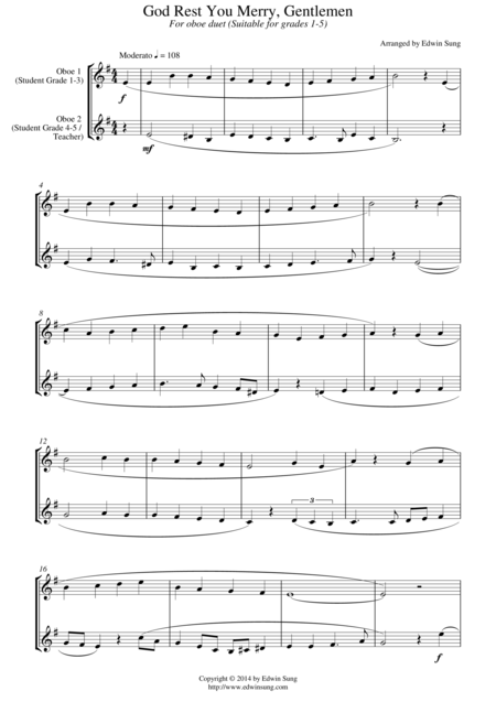 God Rest You Merry, Gentlemen (for oboe duet, suitable for grades 1-5)