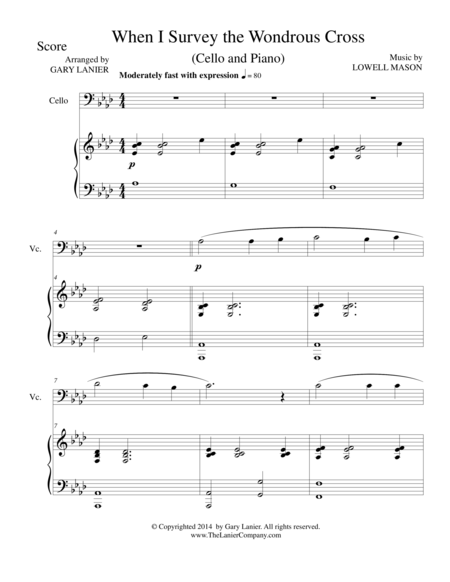 WHEN I SURVEY THE WONDROUS CROSS (Cello/Piano and Cello Part)