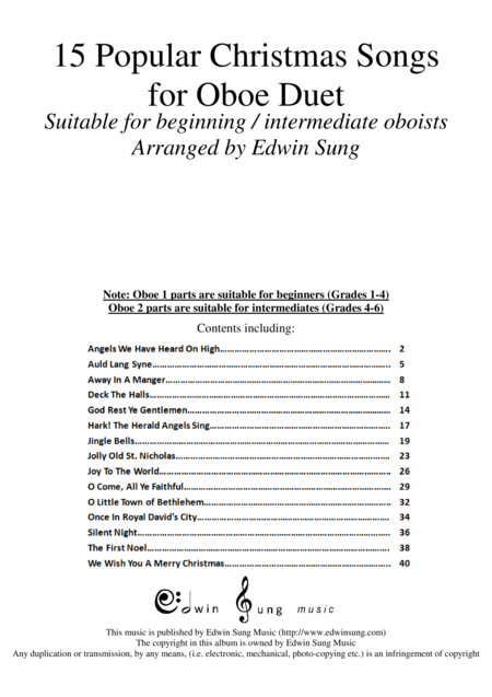 15 Popular Christmas Songs for Oboe Duet (Suitable for beginning / intermediate oboists)