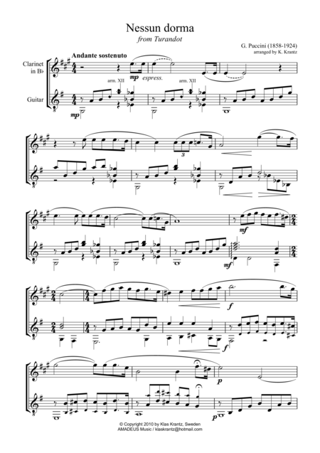 Nessun dorma for clarinet in Bb and guitar