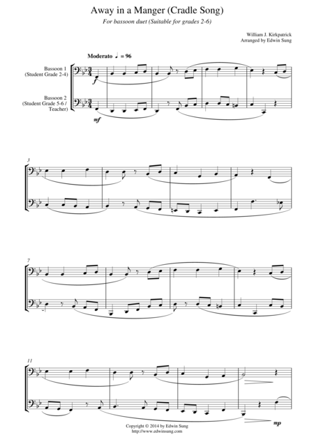 Away in a Manger (Cradle Song) (for bassoon duet, suitable for grades 2-6)