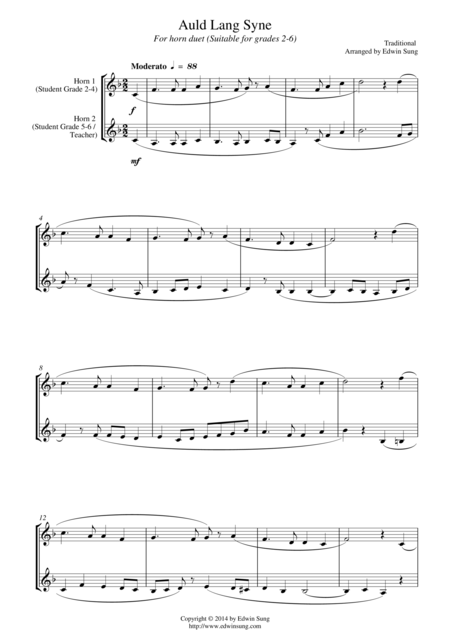 Auld Lang Syne (for horn duet, suitable for grades 2-6)