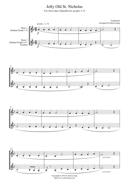Jolly Old St. Nicholas (for horn duet, suitable for grades 1-5)