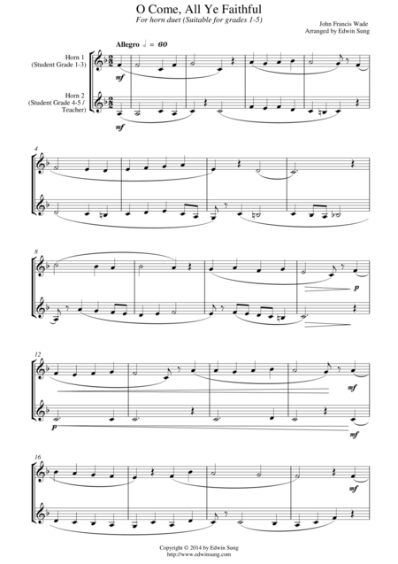O Come, All Ye Faithful (for horn duet, suitable for grades 1-5)
