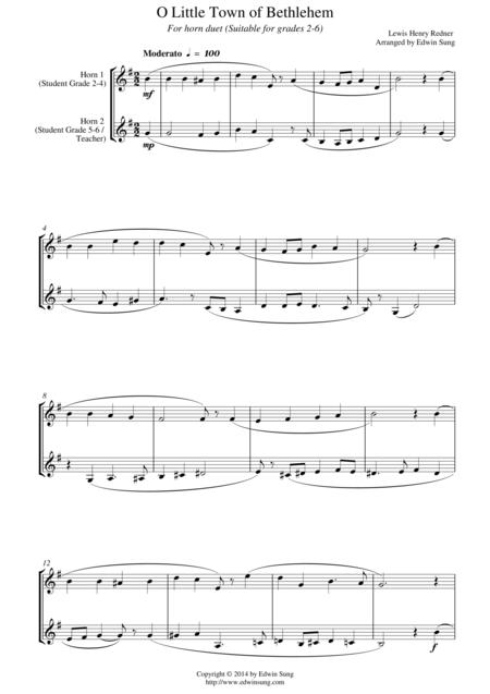 O Little Town of Bethlehem (for horn duet, suitable for grades 2-6)