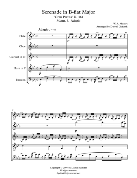Adagio from Serenade in Bb Major, K.361 (Gran Partita) arranged for Wind Quintet