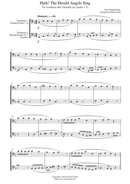 Hark! The Herald Angels Sing (for trombone duet, suitable for grades 1-5)