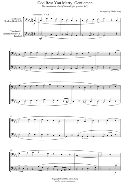God Rest You Merry, Gentlemen (for trombone duet, suitable for grades 1-5)