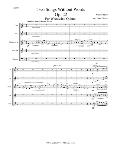 Gustav Holst - Two Songs Without Words set for Woodwind Quintet