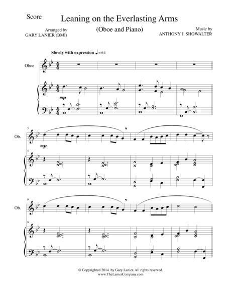 LEANING ON THE EVERLASTING ARMS (Oboe/Piano and Oboe Part)
