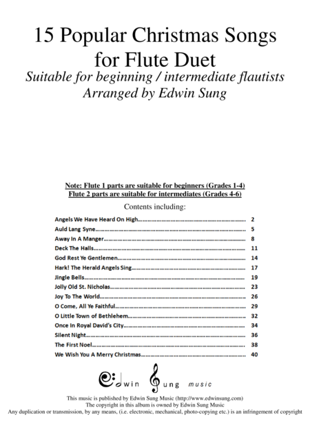 15 Popular Christmas Songs for Flute Duet (Suitable for beginning / intermediate flautists)