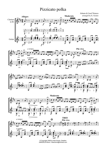 Pizzicato Polka for clarinet in Bb and guitar
