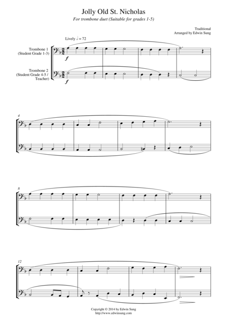 Jolly Old St. Nicholas (for trombone duet, suitable for grades 1-5)