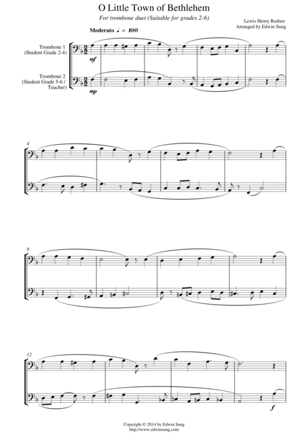 O Little Town of Bethlehem (for trombone duet, suitable for grades 2-6)