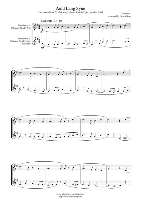 Auld Lang Syne (for trombone duet (treble clef), suitable for grades 2-6)