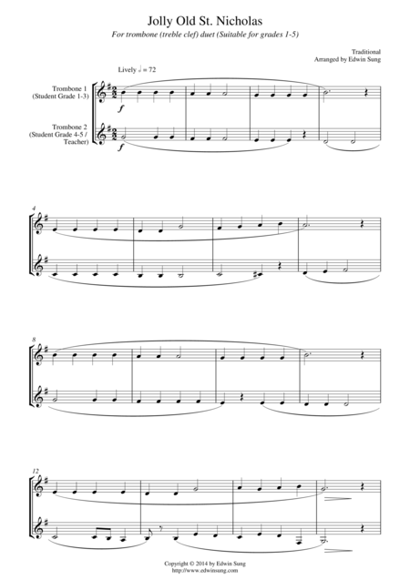 Jolly Old St. Nicholas (for trombone duet (treble clef), suitable for grades 1-5)