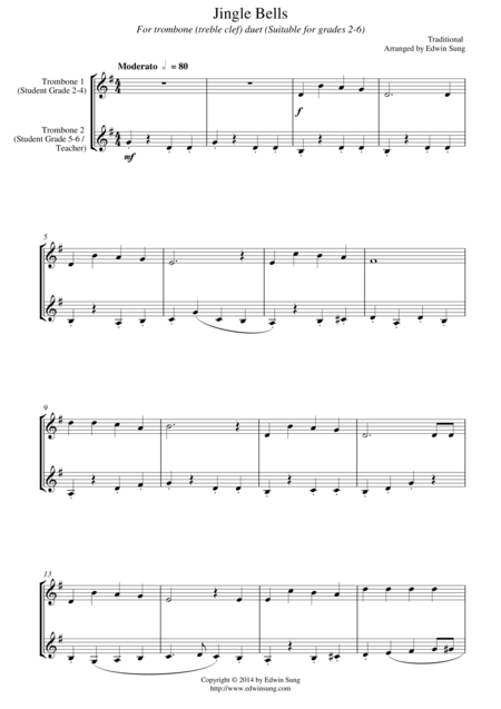 Jingle Bells (for trombone duet (treble clef), suitable for grades 2-6)