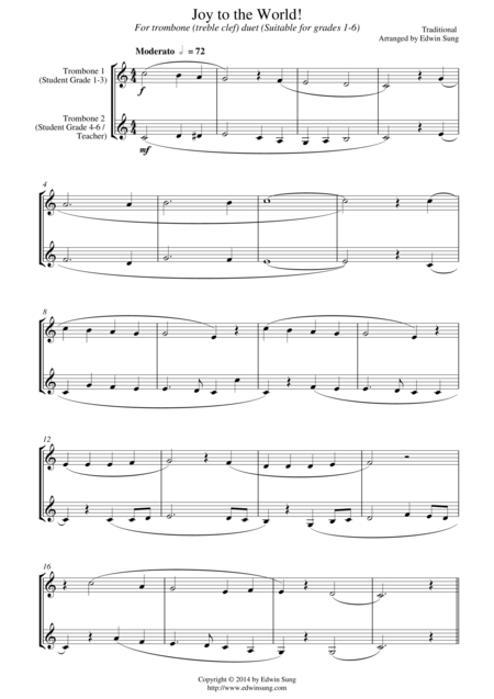 Joy to the World (for trombone duet (treble clef), suitable for grades 1-6)
