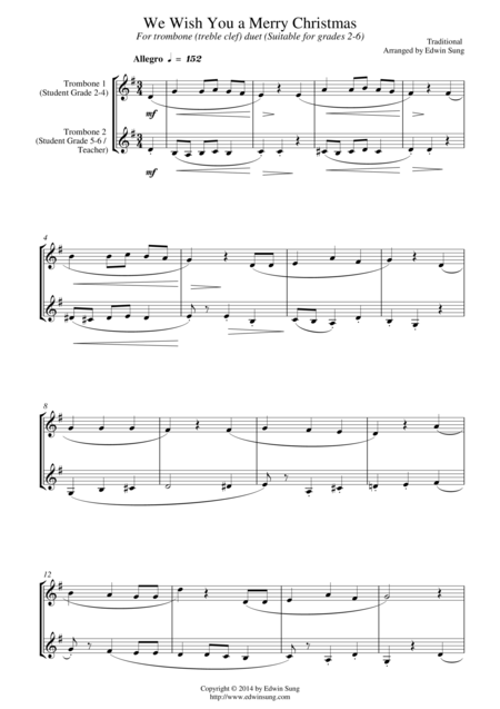 We Wish You a Merry Christmas (for trombone duet (treble clef), suitable for grades 2-6)