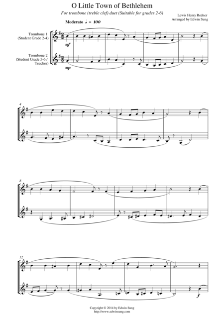 O Little Town of Bethlehem (for trombone duet (treble clef), suitable for grades 2-6)
