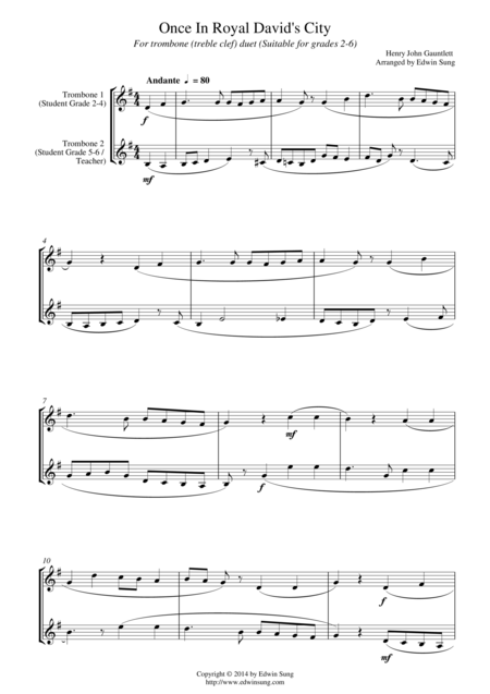 Once In Royal David's City (for trombone duet (treble clef), suitable for grades 2-6)
