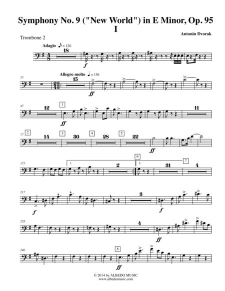 Dvorak Symphony No. 9, New World, Movement I - Trombone in Bass Clef 2 (Transposed Part), Op.95