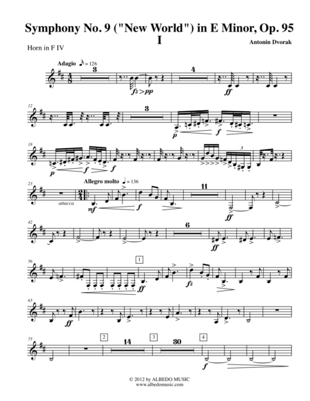 Dvorak Symphony No. 9, New World, Movement I - Horn in F 4 (Transposed Part), Op.95