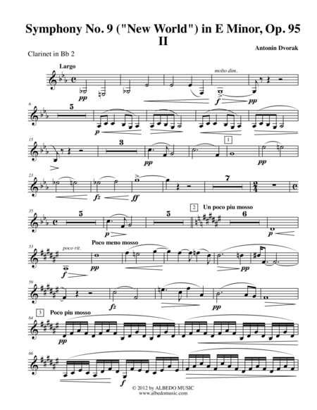 Dvorak Symphony No. 9, New World, Movement II - Clarinet in Bb 2 (Transposed Part), Op.95