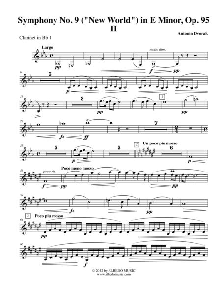Dvorak Symphony No. 9, New World, Movement II - Clarinet in Bb 1 (Transposed Part), Op.95