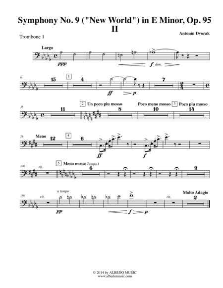 Dvorak Symphony No. 9, New World, Movement II - Trombone in Bass Clef 1 (Transposed Part), Op.95