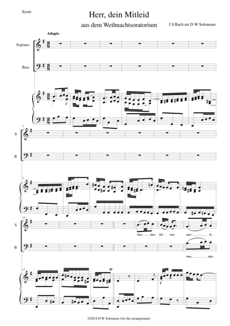 Herr dein Mitleid (from the Christmas Oratorio - Weihnachtsoratorium) transposed down to G
