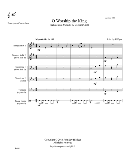 O Worship the King: Prelude on a Melody by William Croft for Brass Quartet