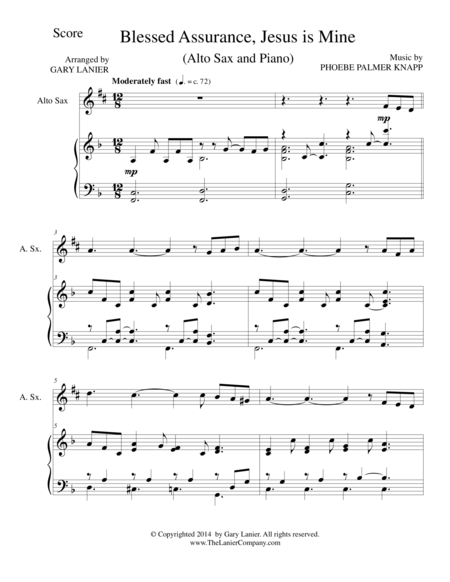 BLESSED ASSURANCE (Alto Sax/Piano and Sax Part)