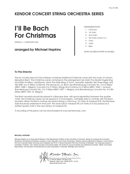 I'll Be Bach For Christmas - Full Score