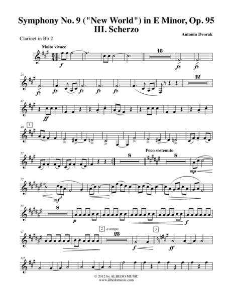 Dvorak Symphony No. 9, New World, Movement III - Clarinet in Bb 2 (Transposed Part), Op.95