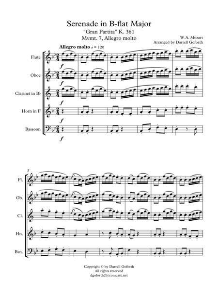Mozart: Serenade in Bb Major, K. 361 (Gran Partita) for Wind Quintet Mvmt. 7 (Allegro molto)