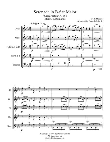 Mozart: Serenade in Bb Major, K. 361 (Gran Partita) for Wind Quintet Mvmt. 5 (Romanze)