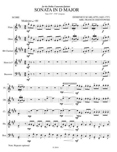SONATA IN D MAJOR (K96)  D.Scarlatti arr. for WW. QUINTET
