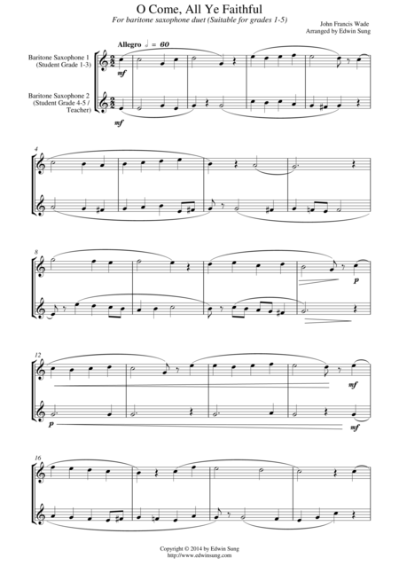 O Come, All Ye Faithful (for baritone saxophone duet, suitable for grades 1-5)