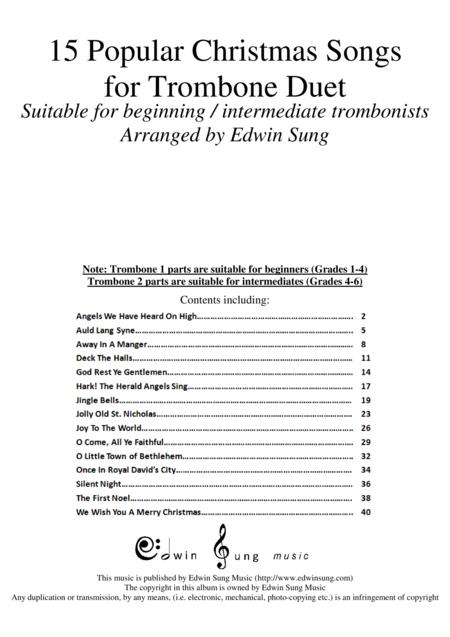 15 Popular Christmas Songs for Trombone Duet (Suitable for beginning / intermediate trombonists)