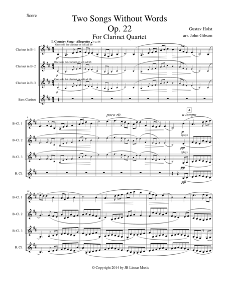 Gustav Holst - Two Songs Without Words set for Clarinet Quartet