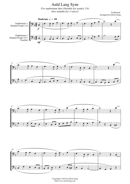 Auld Lang Syne (for euphonium duet (bass clef, 3 or 4 valved), suitable for grades 2-6)