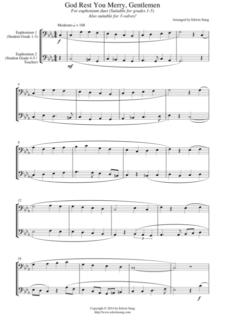 God Rest You Merry, Gentlemen (for euphonium duet (bass clef, 3 or 4 valved), suitable for grades 1-5)