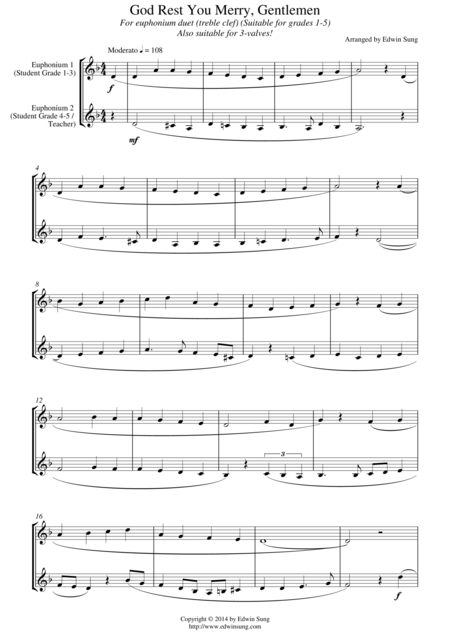God Rest You Merry, Gentlemen (for euphonium duet (treble clef, 3 or 4 valved), suitable for grades 1-5)